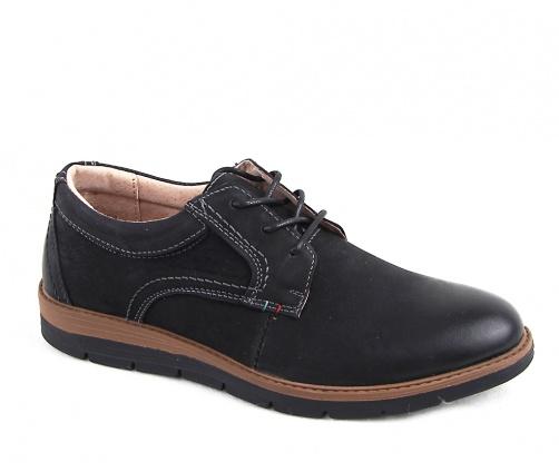 Δερμάτινα ανδρικά παπούτσια με κορδόνι μαύρα