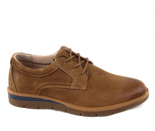 Δερμάτινα ανδρικά παπούτσια με κορδόνι κάμελ