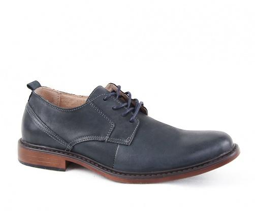 Δερμάτινα παπούτσια με κορδόνια μπλέ σκούρα