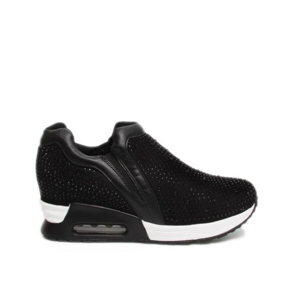 Γυναικεία sneakers μαύρα με λαμπερά στράς
