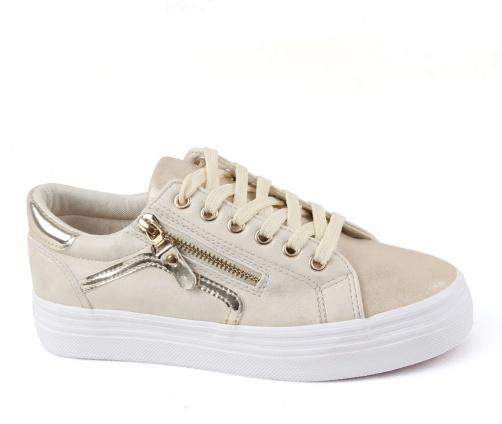 Sneakers γυναικεία παπούτσια μπέζ-χρυσό