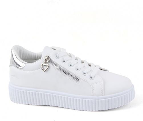 Λευκά γυναικεία sneakers με κορδόνια