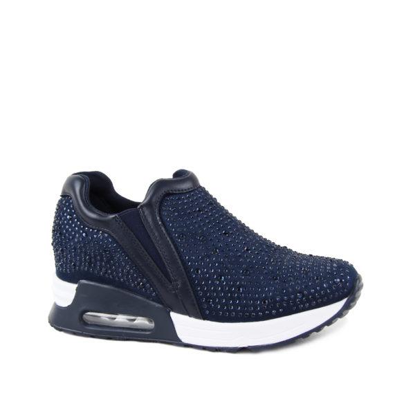 Γυναικεία sneakers με λαμπερά στράς μπλε