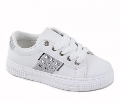 Παιδικά Sneakers Δίχρωμα Ασπρα/Ασημί