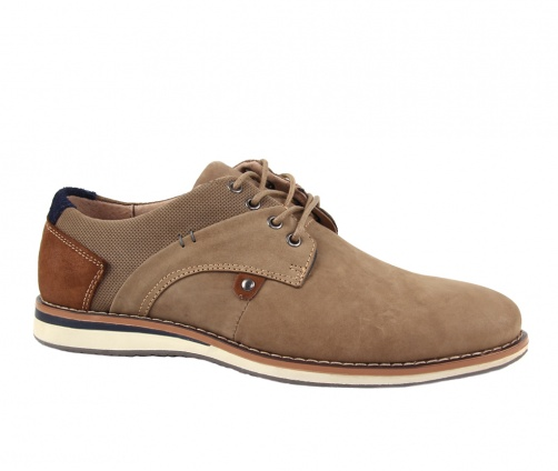 Δερμάτινα παπούτσια με κορδόνια μπεζ