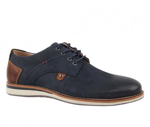 Δερμάτινα παπούτσια με κορδόνια μπλε