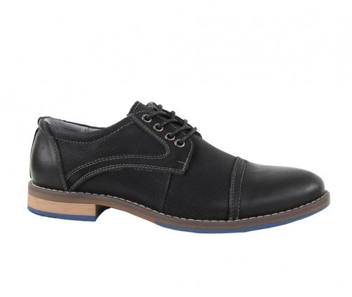 Δερμάτινα παπούτσια με κορδόνια μαύρα