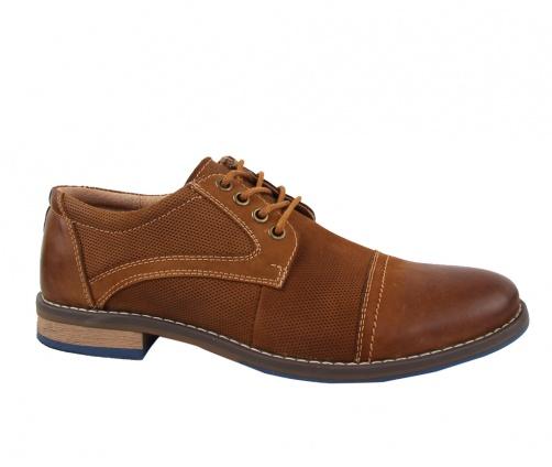 Δερμάτινα παπούτσια με κορδόνια καφέ