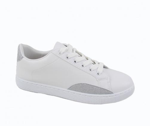 Sneakers Γυναικεία Λευκό με Ασημί
