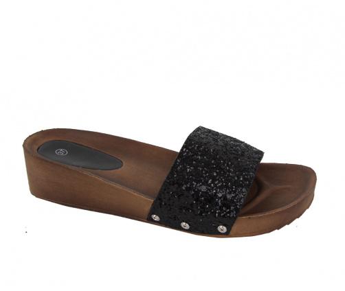 Πλατφόρμες Παντόφλες Μαύρες Glitter