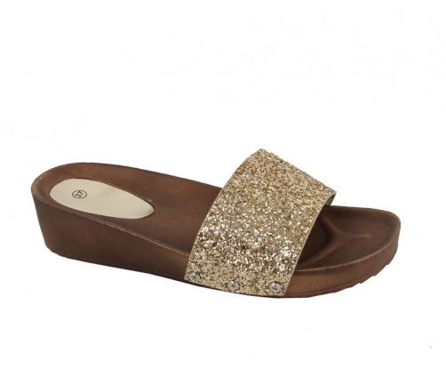 Πλατφόρμες Παντόφλες Χρυσές Glitter