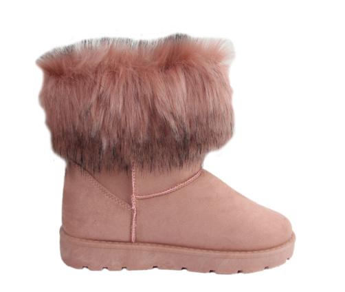 Ροζ μποτάκια γυναικεία γούνινα