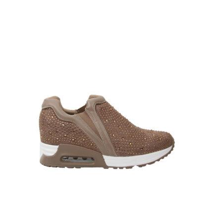 Sneakers μπεζ με λαμπερά στρας