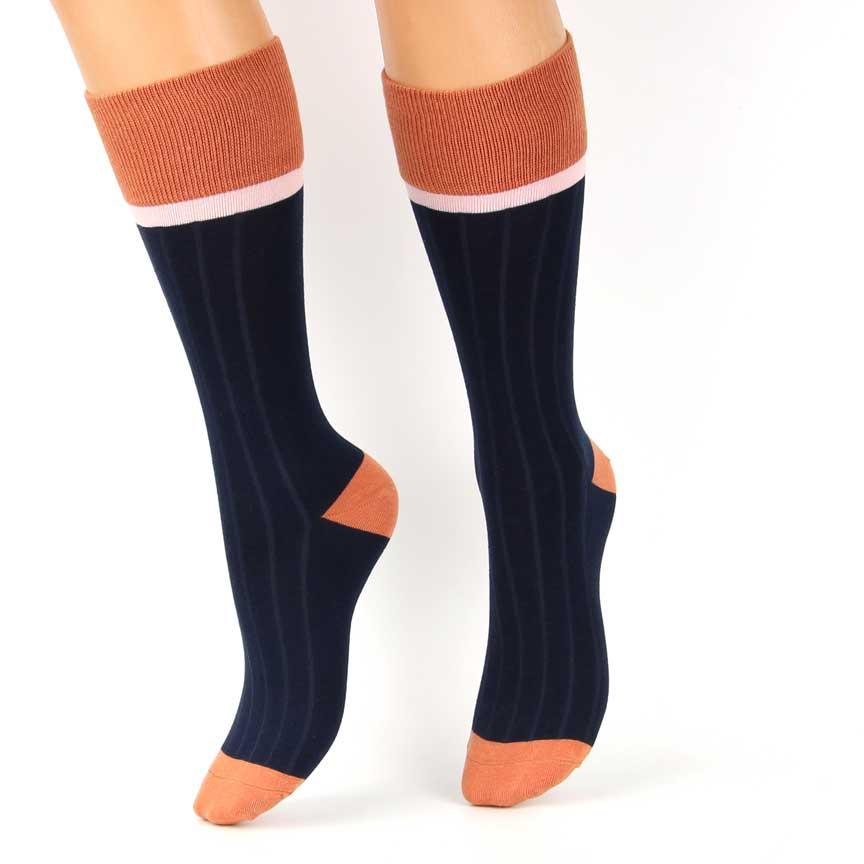 Κάλτσες Ψηλές Βαμβακερές Μπλέ