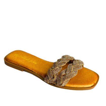 Flat σανδάλια με λαμπερά στράς μπρονζέ.