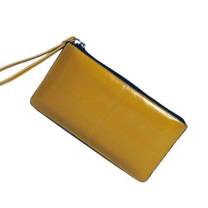 Πορτοφόλι μεγάλο κίτρινο με λουράκι