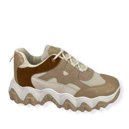 Sneakers Δίχρωμα Γυναικεία μπέζ