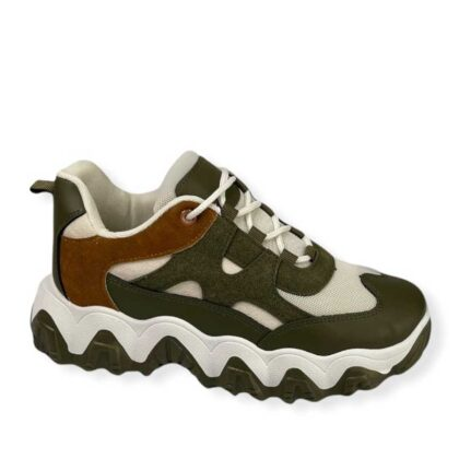 Sneakers Δίχρωμα Γυναικεία λαδί