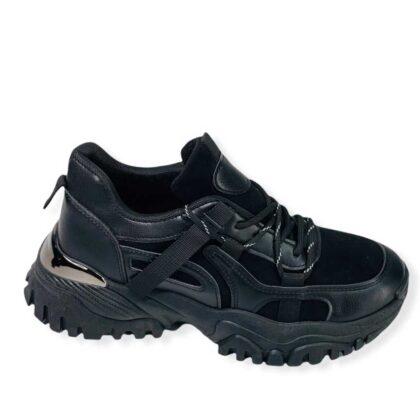 Δίπατα Sneakers με σχέδιο Μαύρα .