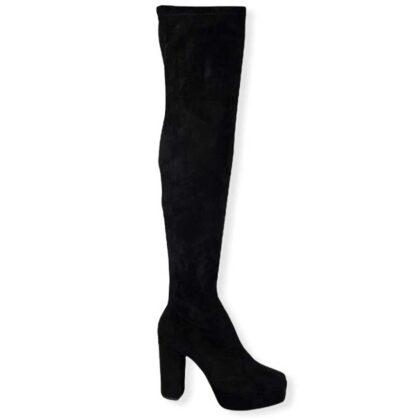 Μπότες πάνω απο το γόνατο με φιάπα μαύρες.