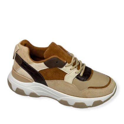Sneakers Δίσολα Γυναικεία μπέζ-καφέ.