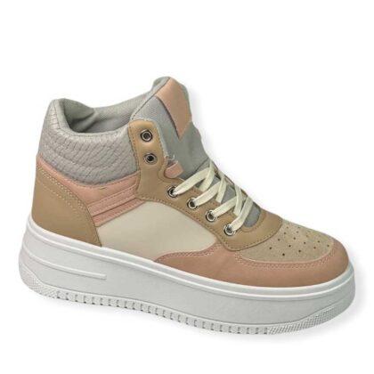 Δίσολο Sneakers μποτάκι μπέζ-ρόζ