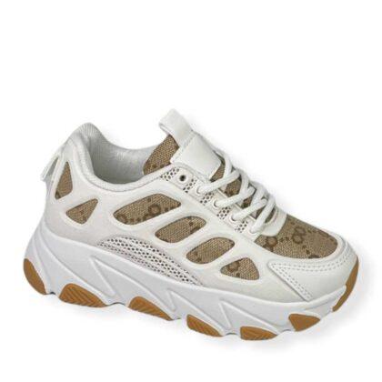 Λευκό-Μπέζ Sneakers Κορίτσι Νο 28-35