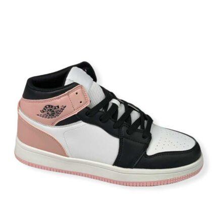 Sneakers γυναικείο μποτάκι λευκό-ρόζ