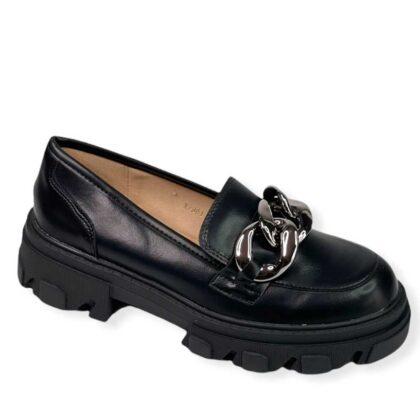Oxford παπούτσια μαύρα με μεταλική αλυσίδα