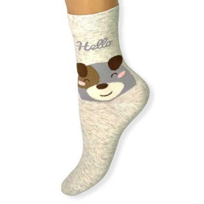 Γυναικείες Κάλτσες Μπέζ με τύπωμα αρκουδάκι