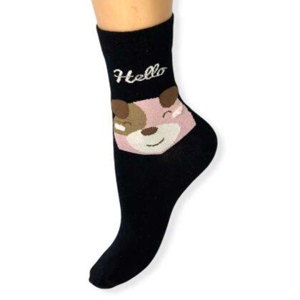 Γυναικείες Κάλτσες Μαύρες με τύπωμα αρκουδάκι