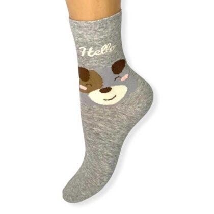 Γυναικείες Κάλτσες Γκρί με τύπωμα αρκουδάκι