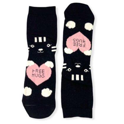 Κάλτσες VTEX socks μαύρες Free Hugs