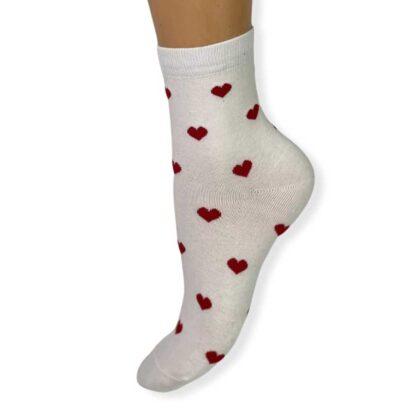 Κάλτσες βαμβακερές White with hearts