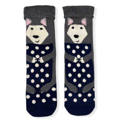 Ζεστές Γυναικείες Κάλτσες με σχέδια μπλέ-γκρί